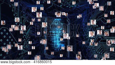 Composition of network of people photographs with digital key icon over processor circuit board. global technology, digital interface and data processing concept digitally generated image.
