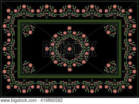 Pattern For Embroidery Tablecloth Of Bouquets With Flowers Of Pink And Orange Petals,twigs With Leav