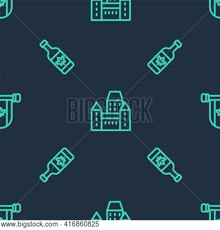 Set Line Chateau Frontenac Hotel, Beer Bottle And Pennant Canada On Seamless Pattern. Vector