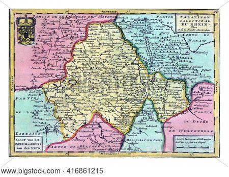 Map of Rhineland-Palatinate, vintage engraving.