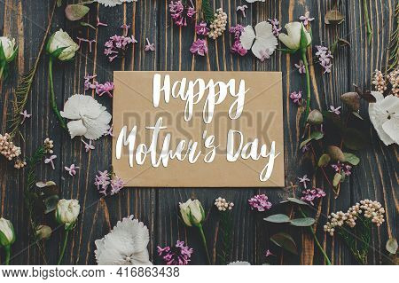 Happy Mother's Day. Happy Mother's Day Text On Card And Lilac, Eucalyptus, Hydrangea, Rose Flowers O
