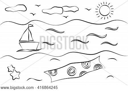 Summer Beach, Sea And Sailboat Child's Drawing. Summer Item Doodle. Hand Drawn Vector Illustration