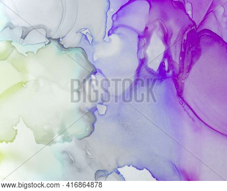 Ethereal Paint Pattern. Alcohol Ink Wave Background. Lilac Abstract Stains Canvas. Contemporary Colo