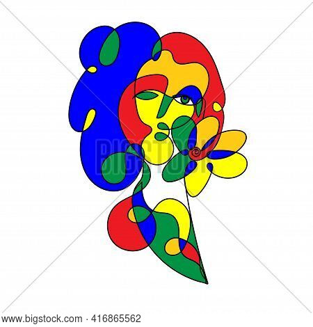 Colored Spotted Surreal Face Pretty Woman With Flower Isolated On White In Freehand Style. Concept O