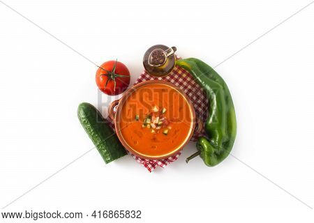 Gazpacho Soup In Crock Pot And Ingredients Isolated On White Background. Top View