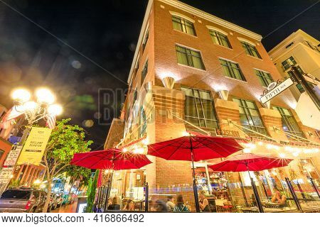 San Diego, California, United States - July 31, 2018: Tuscan Cafe And Wine Bar On Fifth Avenue, The