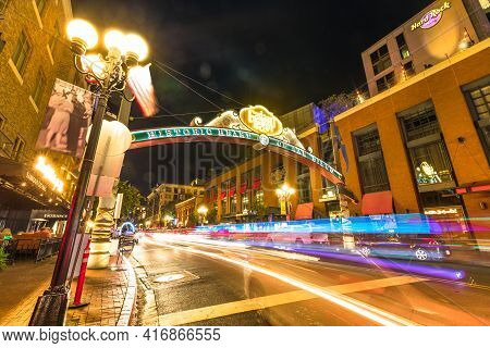 San Diego, California, United States - July 31, 2018: Entrance Sign To Gaslamp, An Historic District