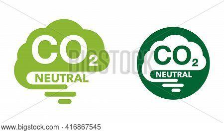 Co2 Neutral Emblem With Cloud, Net Zero Carbon Footprint - Carbon Emissions Free No Air Atmosphere P