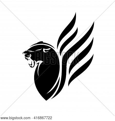 Roaring Black Panther With Wings Vector Head Portrait - Elegant  Mythical Animal Outline Design