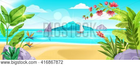 Summer Beach Landscape, Vector Sea Background, Sand, Ocean Surf, Island Shore, Banana Leaf, Blue Sky