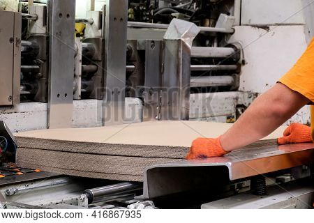 Enterprise For The Production Of Cardboard Containers . Worker Put Sheets Of Cardboard In A Machine