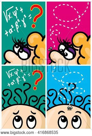Vector Set Of Humor Cartoons, Solving Problem, Fly With Line Path. Hand Drawn. Print Illustration