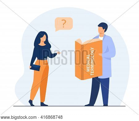 Woman Asking Doctor About Medical Terms. Book, Profession, Dictionary Flat Vector Illustration. Medi