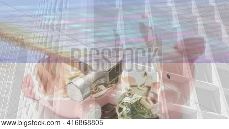 Office building and a broken piggy bank. financial crisis and economy concept, digitally generated image.