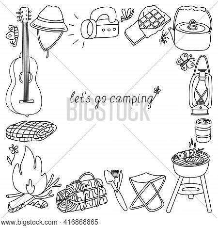 Vector Doodle Square Frame With Camp Equipment. Hand Drawn Sketch Illustration Isolated On White. Bl