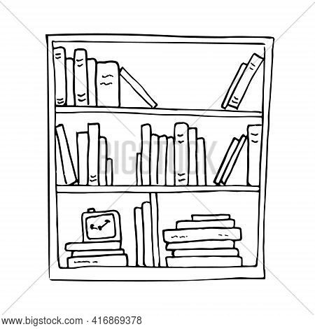 Bookshelf With Various Books Doodle Style Vector Isolated Illustration. Hand Drawn Bookcase Library