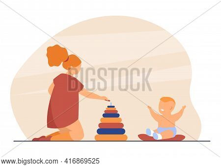 Cute Elder Sister Playing With Little Baby. Toy, Pyramid, Relative Flat Vector Illustration. Family