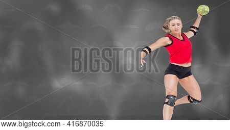 Blonde caucasian woman throwing a softball midair over moustaches background. sports concept, digitally generated image.