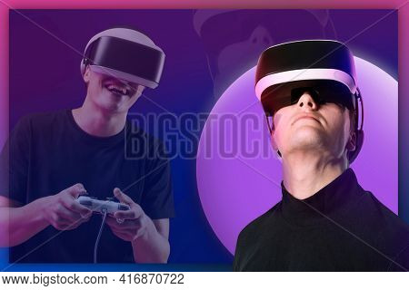 Man playing games with vr goggles technology background
