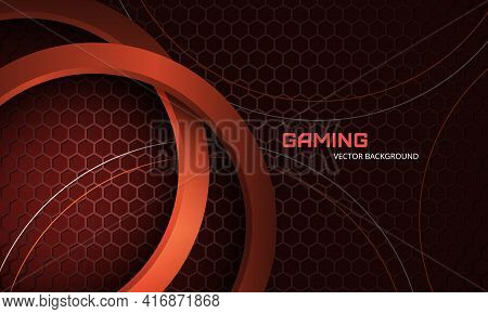 Futuristic Three-dimensional Red Abstract Vector Background With Hexagon Carbon Fiber. Dark Abstract