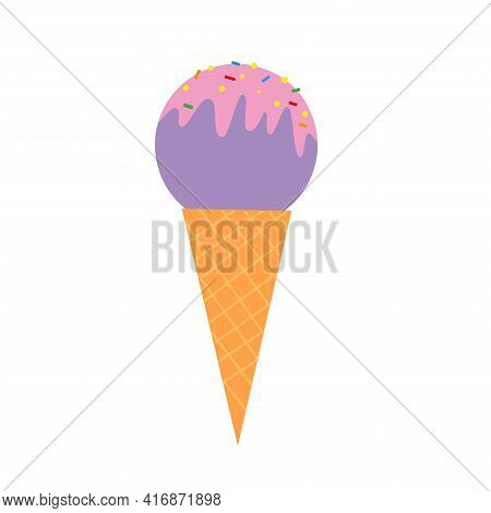 Sweet Fruit Ice Cream In A Waffle Cone On An Isolated Background. Delicious Frozen Dessert. Vector I
