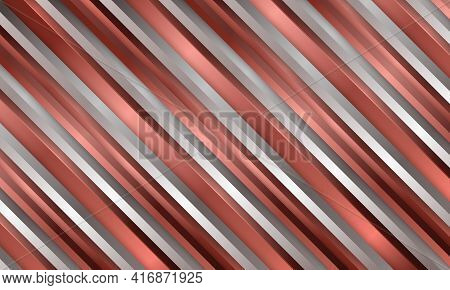 Abstract Luxury Metallic Striped 3d Vector Background With Red And Silver Three Dimensional Shapes.