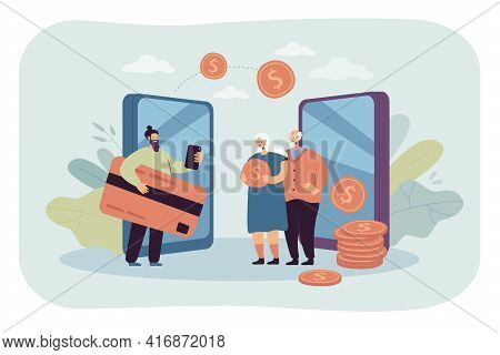 Remittance And Money Transfer Between Relatives. Flat Vector Illustration. Cartoon Family Making Cas