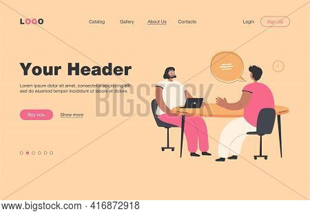 Hr Manager Talking With Candidate At Job Interview Flat Vector Illustration. Cartoon Employee Or Job