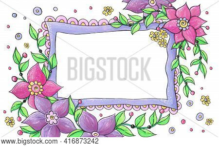 Floral Frame For Congratulations On Mother's Day, Birthday, Happy Spring Day.beautiful Frame For Con