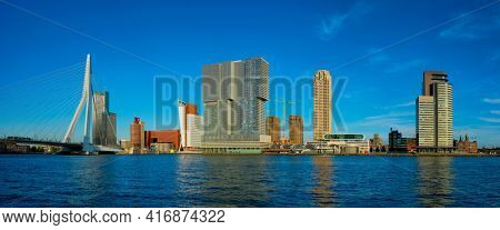 Rotterdam skyscrapers skyline and Erasmusbrug bridge over of Nieuwe Maas river. Rotterdam