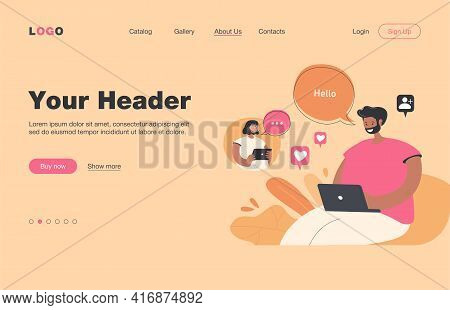 Girl And Guy In Love Chatting Online. Couple Sending Messages On Social Media. Vector Illustration F