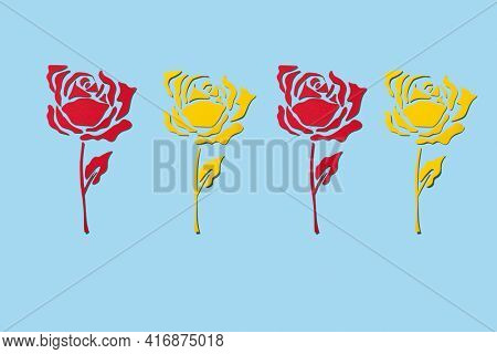 some roses made with cutouts of red and yellow papers, on a blue background, for saint george day, when it is tradition to give roses in catalonia, spain