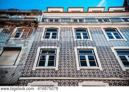 Old Town Lisbon. Street view of typical houses in Lisbon, Portugal, Europe