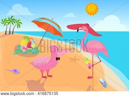 Flamingo Eating Ice Cream On Beach Illustration. Pink Bird Wearing Big Hat And Standing On Leg, Peli