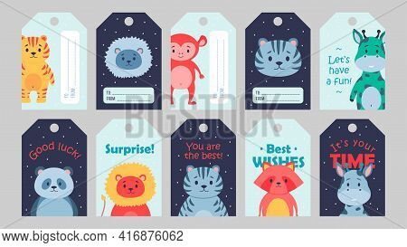 Wild Animal Tags Set Cartoon Vector Illustration. Cute Beasts Template For Kids With Inspirational Q