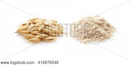 Integral oats flour with oats plant isolated on white background