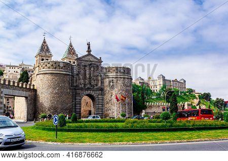 Toledo,  Castilla La Mancha, Spain - 12 May 2013: Puerta De Bisagra Or Alfonso Vi Gate.
