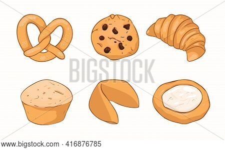 A Collection Of Butter Cookies. Oatmeal Cookies With Chocolate Chips, French Bagel And Pretzel. Fort