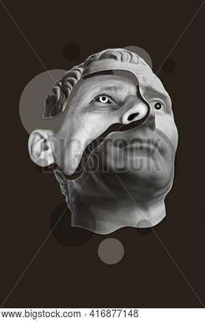Collage With Details Gloomy Male Face And Statue Head In A Surreal Pop Art Style. Modern Creative Im