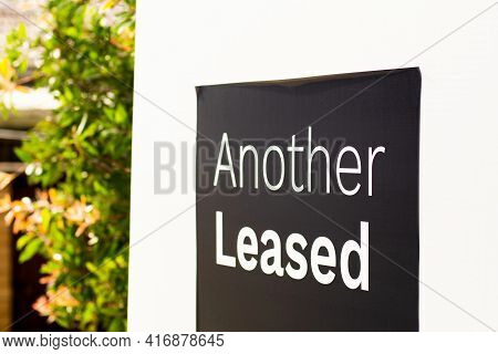 Another Leased Sign Outside Of A Residential Building In Australia. Renting Market