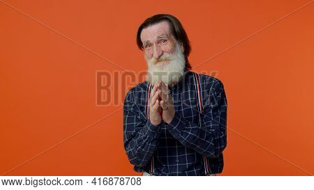 Sneaky Cunning Mature Bearded Grandfather With Tricky Face Gesticulating And Scheming Evil Plan, Thi