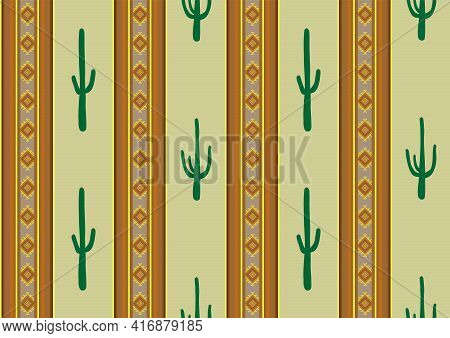 Ethnic Ornament And Cati Stripes Seamless Pattern. Aztec Geometric Stripes Background. Mexican Style