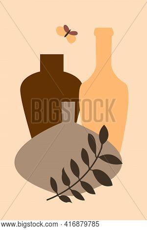 Branch, Bottle, Vase Pattern Background, Abstract Boho Vase Illustration For Design Shop Flyer, T Sh