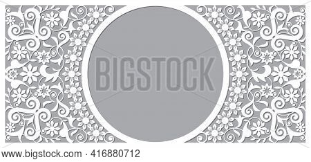 Moroccan Vector Openwork Frame And Border Greeting Card Design In Recatangle Dl Format, Inspired By