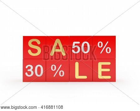 Red Cubes With The Text Sale Thirty And Fifty Percent. 3d Illustration