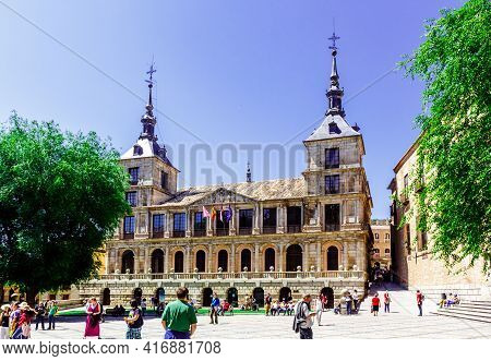Toledo, Castilla La Mancha, Spain - 12 May 2013: Town Hall Square  With Facad Of The City Hall.