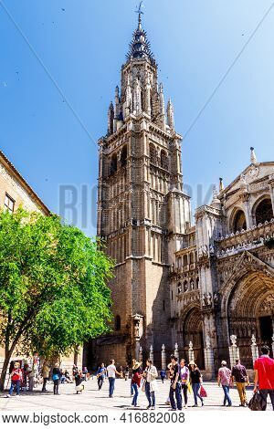 Toledo,  Castilla La Mancha, Spain - 12 May 2013: Bell Tower Santa Iglesia Catedral Primada De Toled