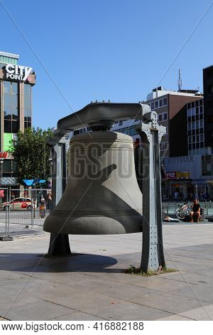 Bochum, Germany - September 17, 2020: Gigantic Bell In Front Of The City Hall In Downtown Bochum, Ge