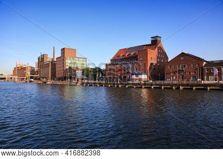 Duisburg, Germany - September 18, 2020: Skyline Of Inner Harbour (innenhafen) In Duisburg, Germany.