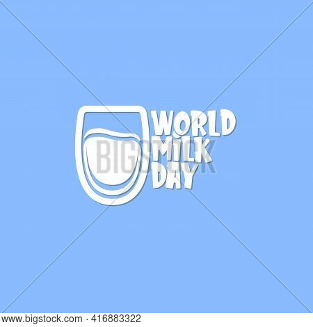 Vector Wold Milk Day Outline Style Icon Or Label Isolated On Violet Background. Milk Day Greeting Po